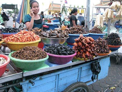 Marktstand mit Insekten und Meeresfrüchten