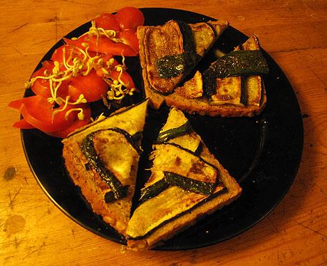 gebratene Zucchinis auf Brot