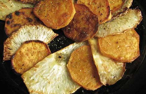Sellerie mit Süßkartoffeln in Scheiben