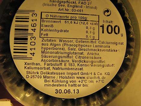 Vegetarischer Caviar: Zusatzstoffe