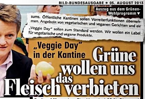 BILD über die Forderung der GRÜNEN nach einem Veggie-Day