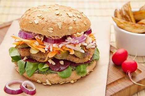 Veganer bunter Burger bio